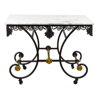 French Marble and Cast Iron Pastry Table