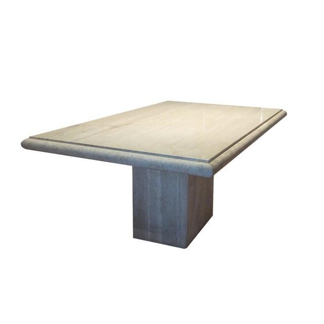 Italian metro travertine dining table chairish for Travertine dining table
