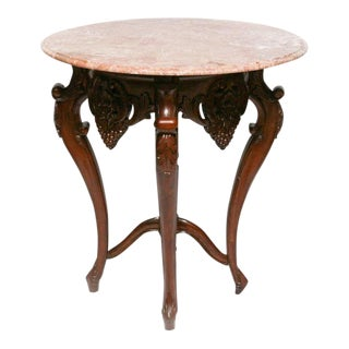 Wooden Marble Top Accent Table