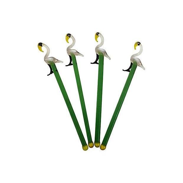 Image of Crystal Flamingo Swizzle Sticks- Set of 4