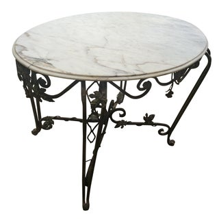 Solid Marble Top Beveled Wrought Iron Table