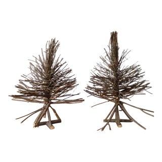 Rustic Twig Tabletop Xmas Trees - a Pair