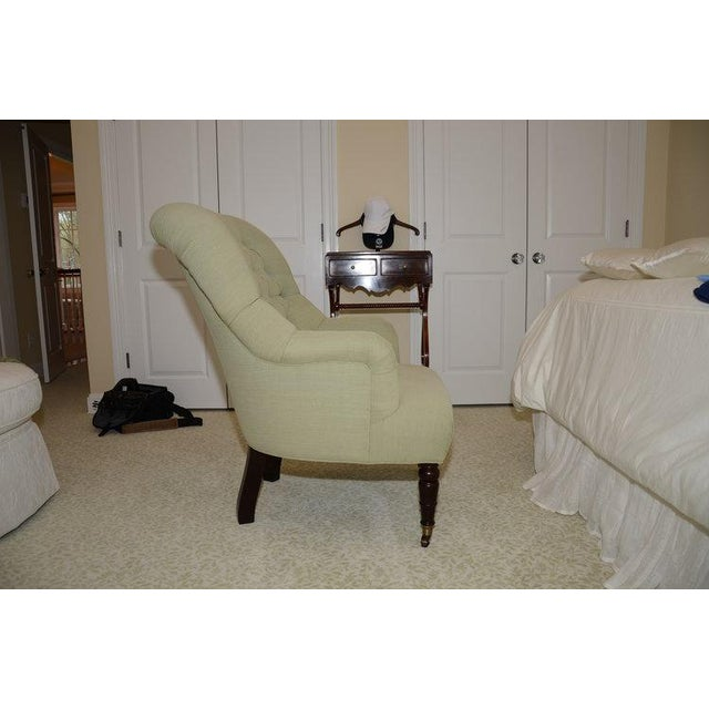 Upholstered Fern Green Tufted Chairs - A Pair - Image 3 of 7