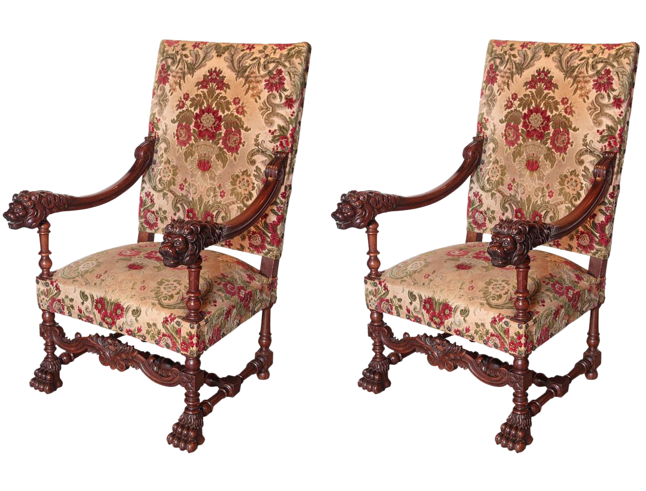 Pair Of Antique Louis XIV Style Walnut Wood Armchairs From France   Image 1  Of 8