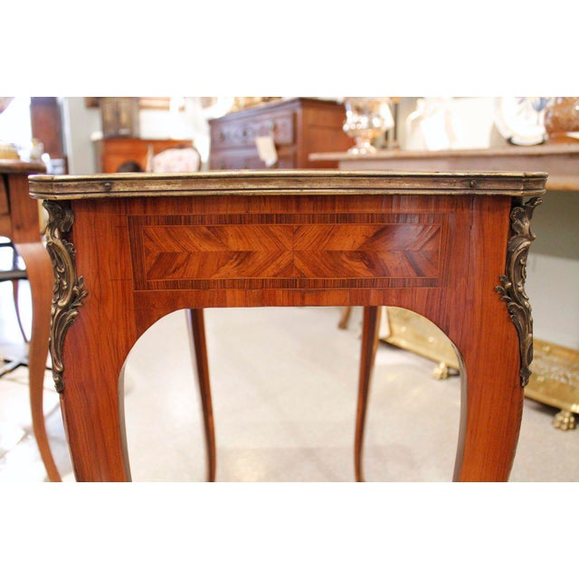 French Louis XV Style Brass Bound Marquetry Occasional Table - Image 7 of 11