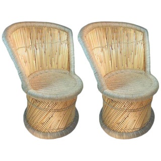 Handmade Reed & Jute Vintage Accent Chairs - a Pair