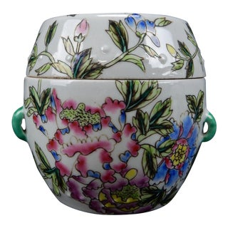 Chinese Hand Painted Famille Rose Lidded Tobacco/Storage Jar