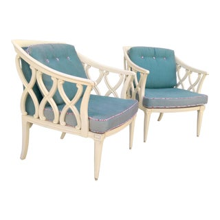 Vintage Lattice Club Chairs - A Pair