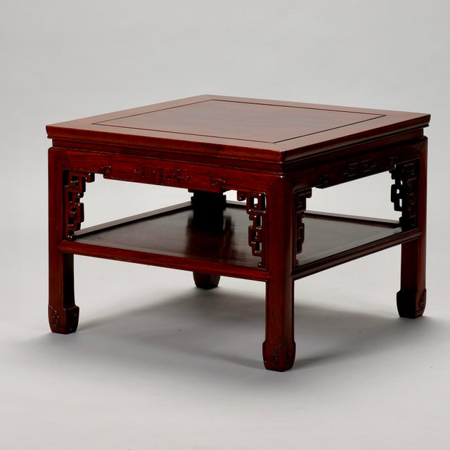 Image of Chinese Carved Wooden Square Cocktail Table c.1930s