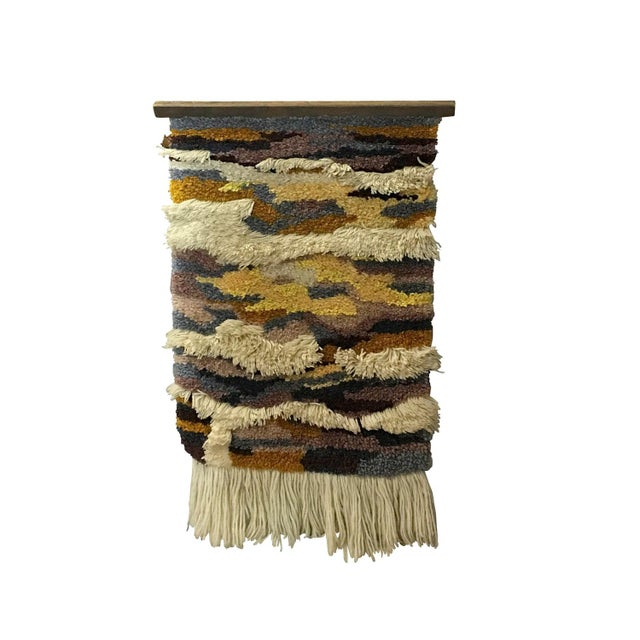 Image of 1960s Mod Abstract Art Woven Wall Hanging