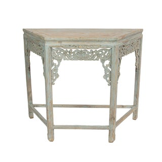 Carved Demilune Gray Console Table