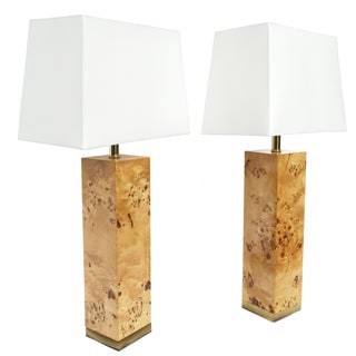 Baughman-Style Lacquered Burl Wood Lamps - A Pair
