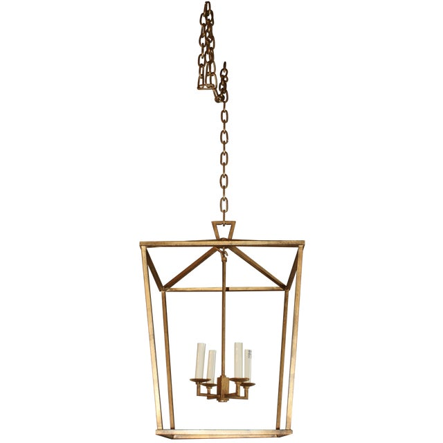 Gilded Iron Foyer Lantern Ceiling Light - Image 1 of 6