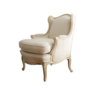 Antique French Linen Bergere Armchair