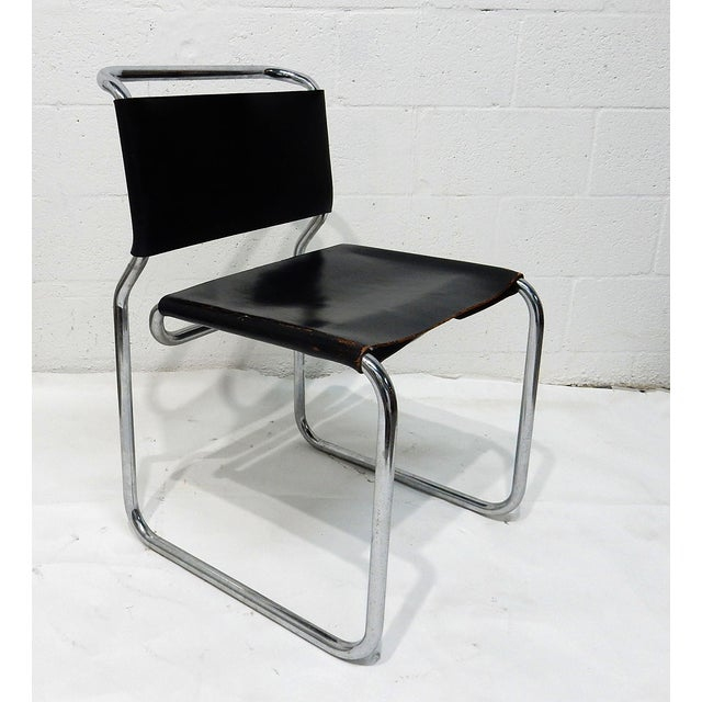 Nico Zograph Chrome Leather Sling Chairs - S/4 - Image 4 of 10