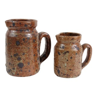 Early French Pottery Pitchers Jugs - Set of 2