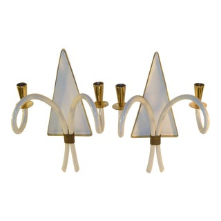 Elegant 1940s Sconces Brass & Galalith French Appliques
