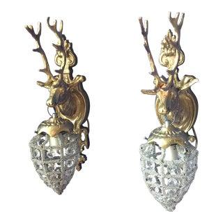 Deer Stag Crystal Sconces - a Pair