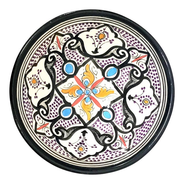 Moroccan Hand-Painted Small Multicolored Bowl - Image 1 of 3