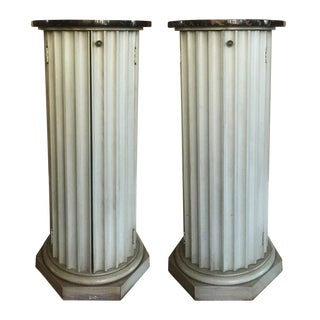 Hollywood Regency Fluted Column-Form Pedestal Cabinets - A Pair