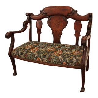 Antique Victorian Carved Walnut Settee on Wheels