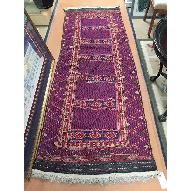 "Blue and Red Kilim Runner Rug - 3' X 8'5"" - Image 2 of 5"