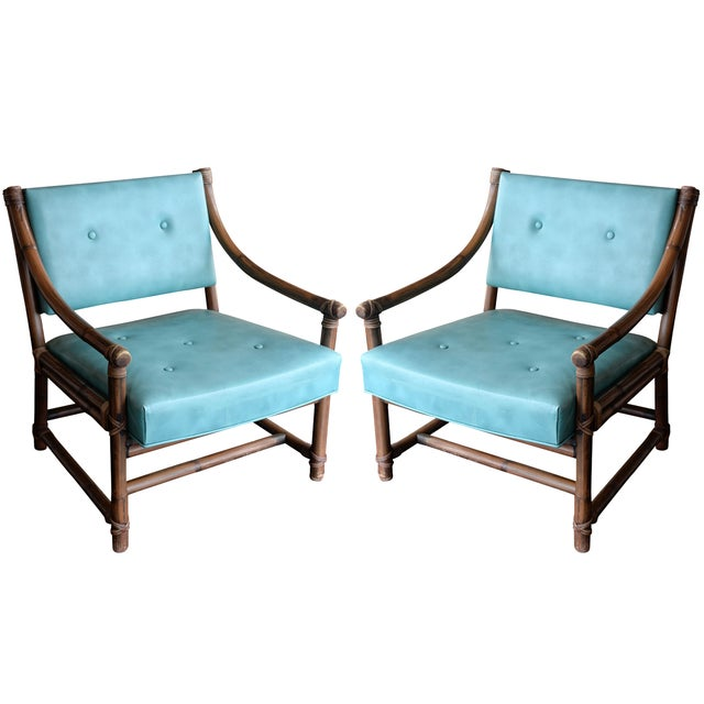 McGuire Bamboo, Leather & Rawhide Chairs - A Pair - Image 1 of 6