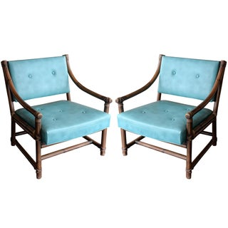 McGuire Bamboo, Leather & Rawhide Chairs - A Pair