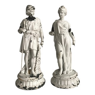 Vintage Classical Metal Male & Female Sculptures- Set of 2