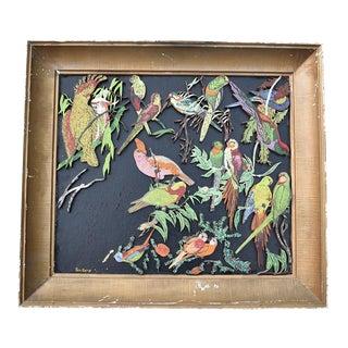 Sam Katz Original Parrot Painting Wood Carving