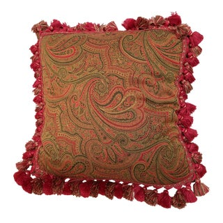 Woven Paisley Tassel Fringe Down Filled Pillow