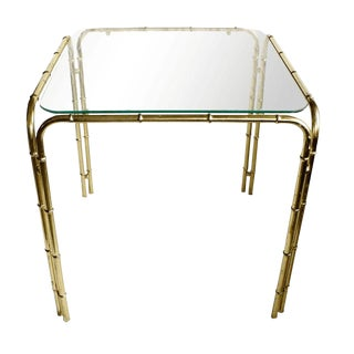 Brass Faux Bamboo Side Table