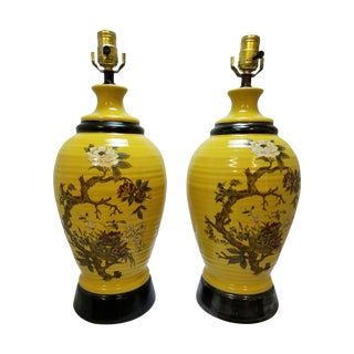 Vintage Yellow Chinoiserie Table Lamps