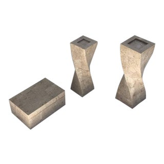Polished Travertine Box and Candlesticks by Maitland-Smith