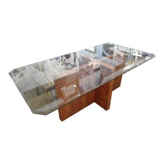 Glass Dining Table With Wood Pedestal Base