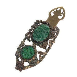Brass & Carved Green Stone Dress Clip