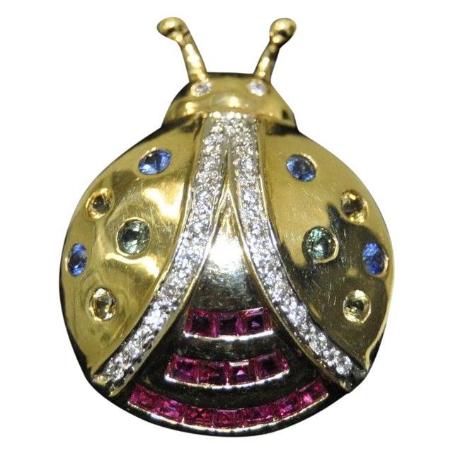 Image of Diamond Sapphire & Ruby 14K Gold Lady Bug Pin