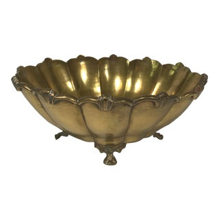Footed Scalloped Brass Bowl