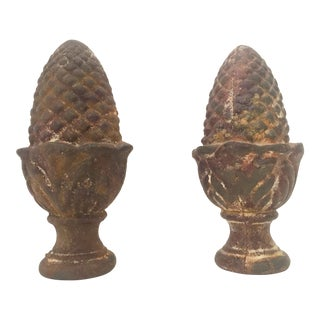 Antique Cast Iron Pineapple Finials - A Pair