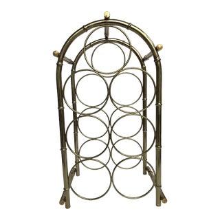 Vintage Brass-Tone Bamboo Style Wine Rack