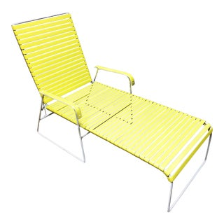 Mid Century Modern Yellow & White Iron Chaise Lounge Patio Chair