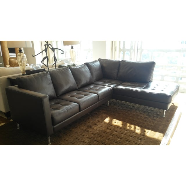 Tufted Dark Brown Leather Sectional - Image 2 of 6