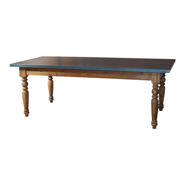 Zinc Topped Farm Table - Image 1 of 11