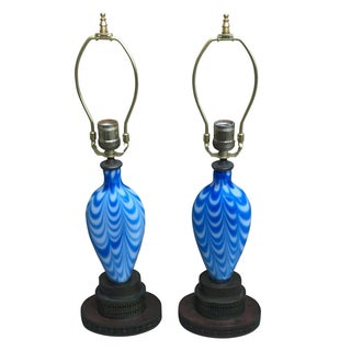 Italian Style Blue & White Lamps - Pair