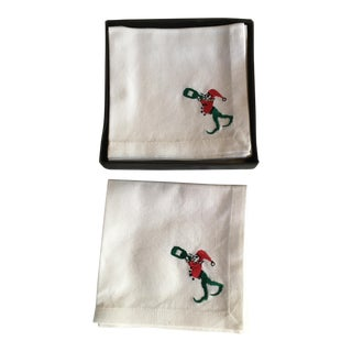 Restoration Hardware Christmas Thirsty Elf Napkins - Set of 6