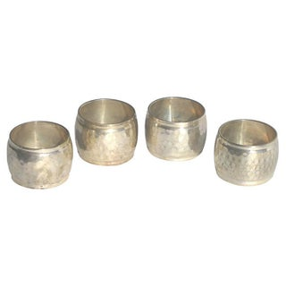 Hammered Silverplate Napkin Rings - Set of 4