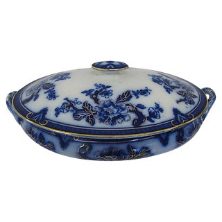 Antique Flow Blue Indian Tree Tureen