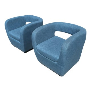 Mid-Century Teal Blue Club Chairs - a Pair