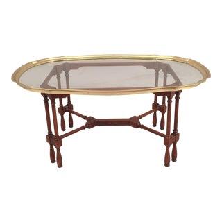 Mid-Century Coffee Table Glass on Wood Base