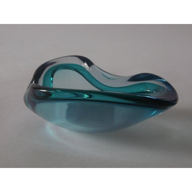 Image of rchimide Seguso Murano Art Glass Blue & Aqua Geode Bowl